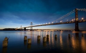Picture the sky, night, lights, reflection, CA, Bay, San Francisco, Bay Bridge, United States