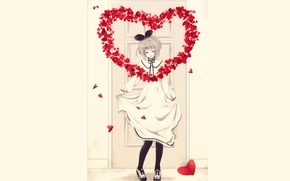 Picture heart, the door, Girl, hearts, bow