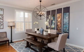 Picture design, table, chairs, dining room, panels