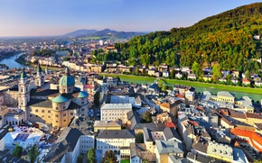 Picture Home, Mountains, The city, River, Austria, panorama, Salzburg