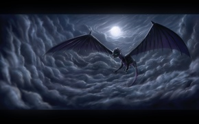 Picture moon, night, clouds, dragon