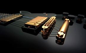 Picture guitar, Macro, strings, black background