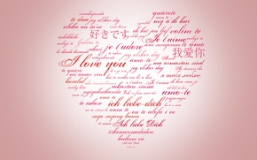 Wallpaper labels, a lot, holiday, Valentine's day, heart, different, languages of the world, valentines day, I ...