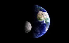 Picture space, earth, the moon, planet, satellite