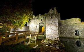 Wallpaper Beaumaris Castle, bridge, ditch, castle, UK, fortress, stones.trees, night, North Wales