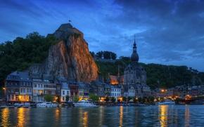 Picture night, bridge, lights, rock, river, home, yacht, boat, Belgium, Belgium, Wallonia, Dinant, Wallonia