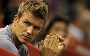 Picture look, macro, hands, player, applause, David Beckham