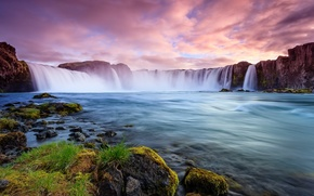Picture stones, nature, waterfall, shore, Iceland, Iceland, stream, clouds, rocks, river, landscape