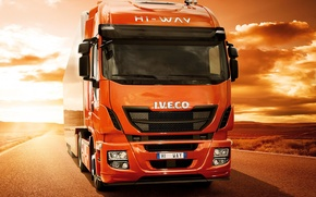Picture road, sunset, desert, track, 500, tractor, Iveco, Stralis, Hi-Way