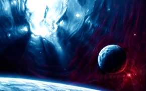 Picture red, blue, planets, sci fi