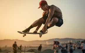 Picture sunset, people, jump, hills, skateboarding, skateboard, extreme sports, city