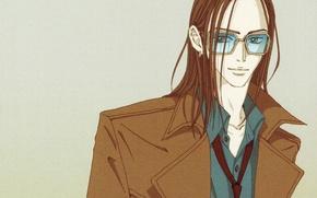 Picture glasses, tie, cloak, grey background, art, ai yazawa, Nan, nana, Takumi ichinose
