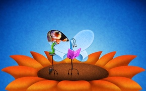 Picture flower, caterpillar, butterfly, wings