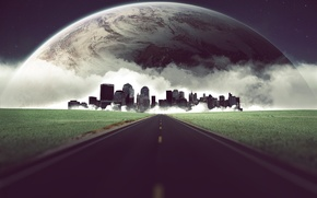 Picture road, grass, planet, The city