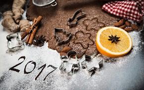 Wallpaper New Year, Orange, Food, Cookies, Cinnamon, 2017