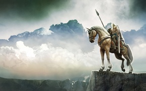 Picture landscape, open, horse, height, sword, warrior, art, panorama, rider, spear