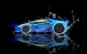 Picture Water, Black, Lamborghini, Neon, Background, Blue, Fantasy, Blue, Photoshop, design, Black, Water, Neon, Lamborghini, Aventador, …