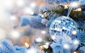 Wallpaper garland, decoration, new year, bokeh, lights, tree, new year, Christmas ball