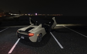 Picture asphalt, night, grey, lights, McLaren, Spider, GTA 5, 650S, 2016