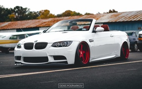 Picture bmw, turbo, red, white, tuning, coupe, power, cabrio, germany, low, e92, stance, e93