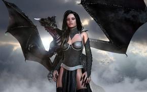 Picture girl, dragon, 3d art, arne, Dragonlord