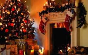 Picture room, fire, tree, candles, mirror, gifts, wood, tree, fireplace, Holiday, Christmas toys