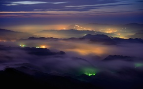 Picture clouds, mountains, night, glow