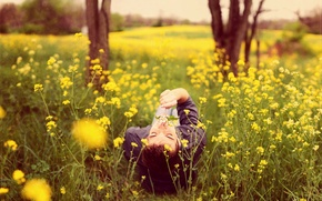 Picture field, nature, guy