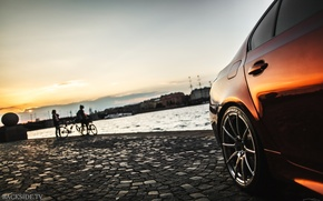 Wallpaper machine, auto, sunset, BMW, Shadow, disk, auto, review, E60, The how to check engine temperature, ...