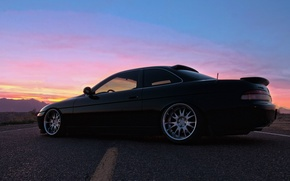 Picture road, the sky, black, black, Lexus, Lexus