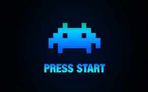 Picture Wallpaper, Minimalism, Space Invaders, Press Start