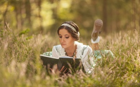 Wallpaper book, Heather, the situation, mood, girl, reading