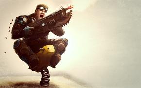 Picture weapons, humor, soldiers, Gears of War, Creek, shots, rocker