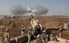 Wallpaper Artillery, volley, soldiers
