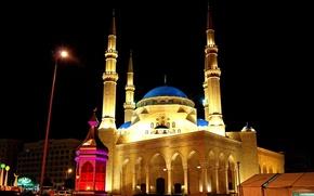 Picture night, night, Lebanon, Beirut, Beirut, Lebanon, mosque Al-Omari, The Al-Omari Mosque