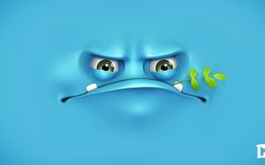 Wallpaper face, branch, blue background, melaamory, angry, grumpy
