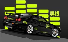 Wallpaper black, vector, Nissan, black, Nissan, Skyline, rear, R34, skyline