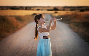 Picture road, girl, Dudka