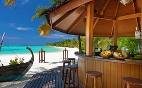 Picture sand, sea, beach, tropics, palm trees, the ocean, island, chairs, bar, fruit, stand, bar, boat.