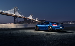 Wallpaper Car, Night, Blue, Dark, Bridge, Sport, Rear, Porsche, Cayman, GT4