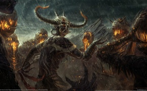 Picture rain, demons, Diablo 3, the sorcerer, Witch Doctor