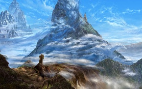 Wallpaper clouds, mountains, castle, rocks, dragons, fantasy, art, ucchiey, if kazama uchio