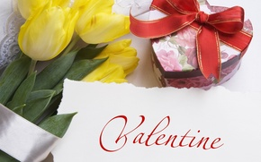 Picture photo, Flowers, Yellow, Tulips, Holiday, Valentine's day, Bow, Gifts