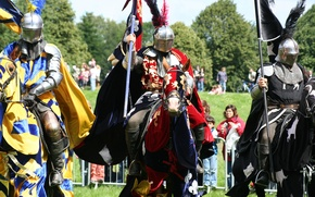 Picture armor, horse, knights, pennants, blankets, tabards, historical reconstruction