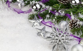 Picture stars, snow, balls, silver, spruce, branch, New Year, Christmas, the scenery, Christmas, bumps, purple, snowflake, …