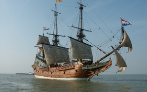 Picture old, wooden, sailing ship, Dutch East India Company ship, 17th century, Replica of the BATAVIA