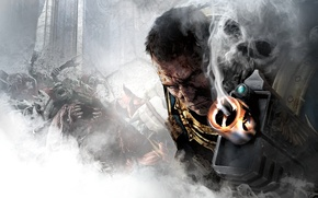 Picture look, weapons, blood, smoke, skull, the barrel, Captain, armor, orcs, THQ, Warhammer 40, NeoGAF, Captain, …