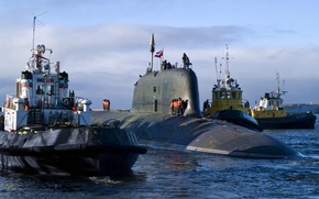"Picture submarine, Navy, output, underwater, missile, tugs, Atomic, in the sea, ""Ash"", 885 project"