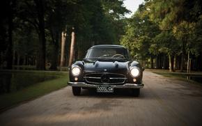 Picture car, Mercedes, black, classic, 300sl, gullwing