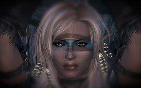Picture look, girl, hands, disguise, white hair, Skyrim, The Elder Scrolls V, Skyrim